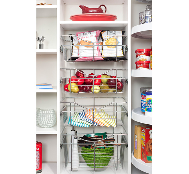 Pantry with slide out basket insert accessories