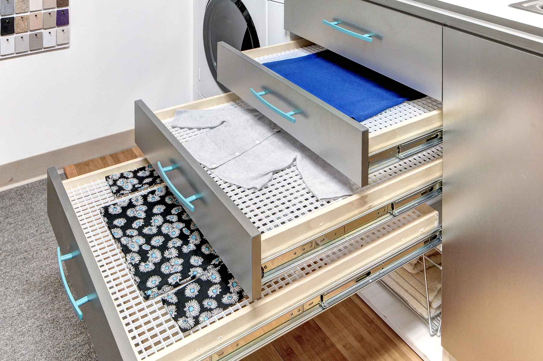 Laundry room drawers with drying racks