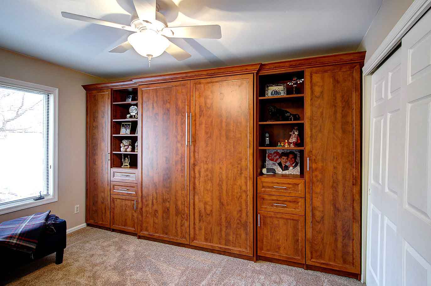 Custom Murphy bed furniture piece with custom shevles and drawers