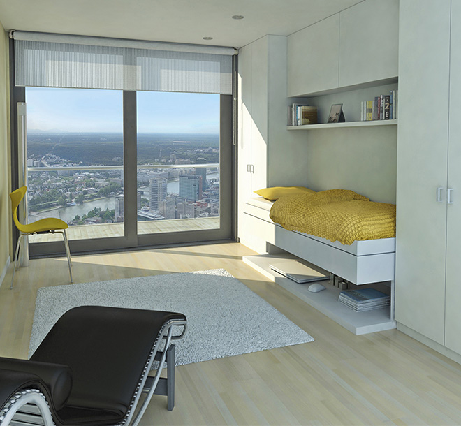 Space saving hideaway bed in apartment