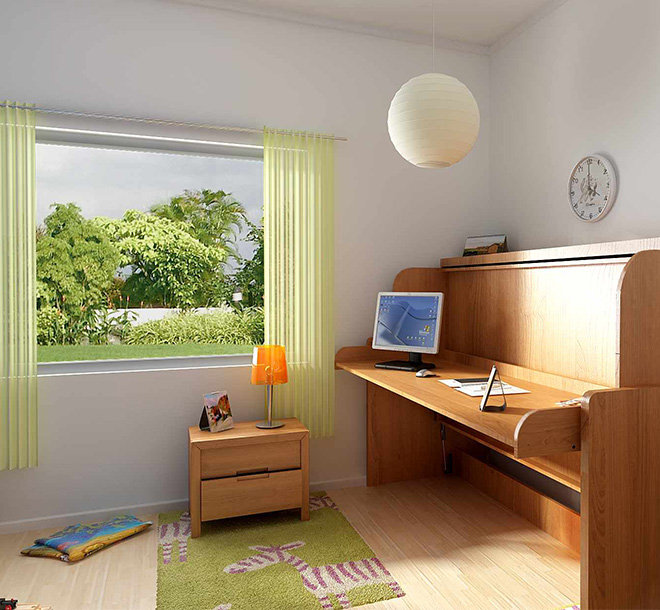 Hideaway bed tranformed into desk area in kid's room