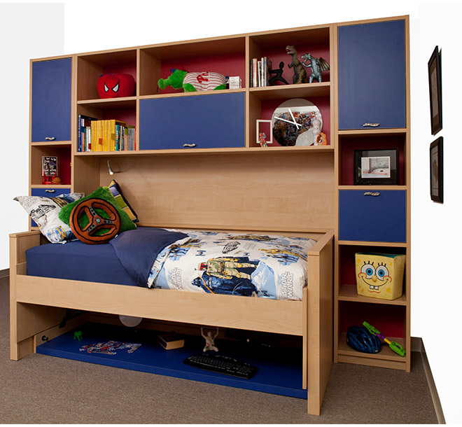 Hideaway bed with kids toys and books neatly stored and organized
