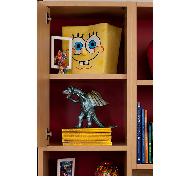 Children's toys and collectables on custom shelves