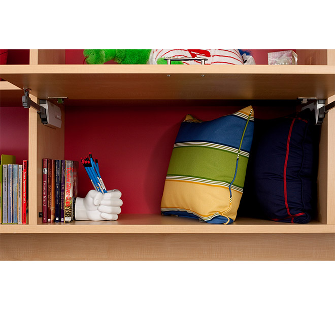 Custom shelf with lift-up doors open and items neatly stored and organized