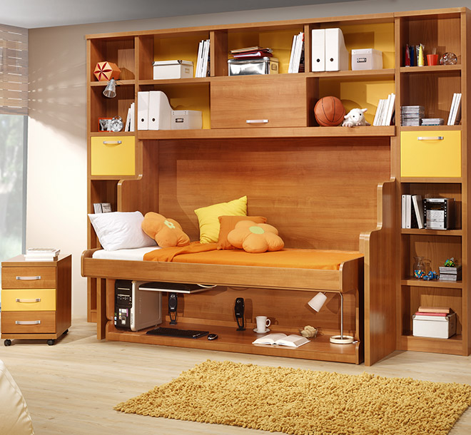 Hideaway bed with hidden desk underneath