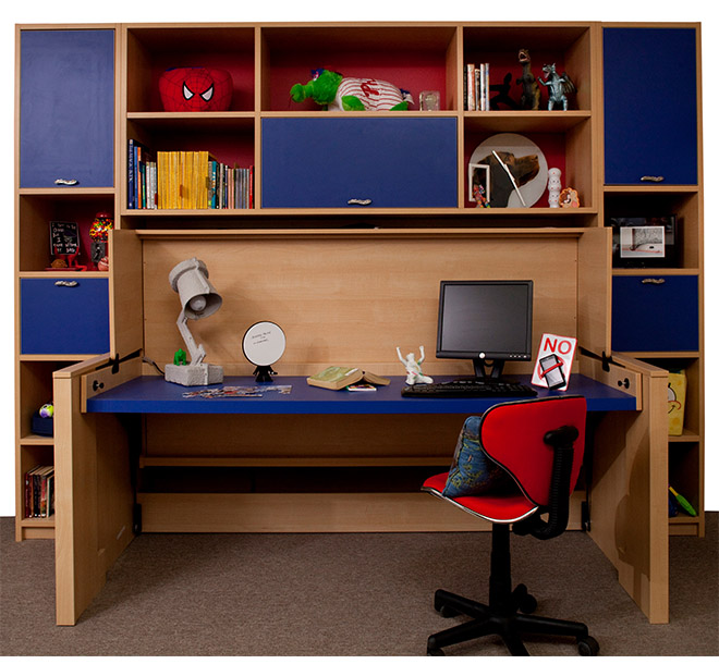 Hideaway bed converted into a desk with shelving and lighting