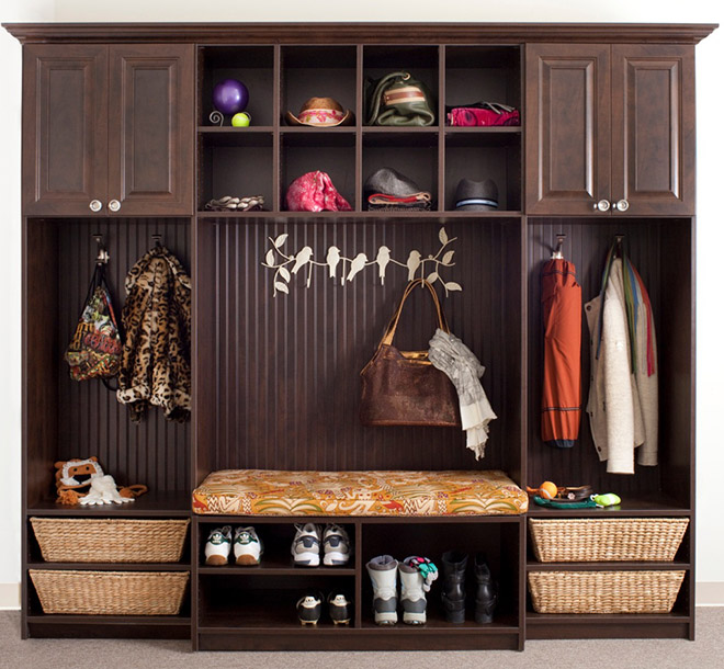 Mudroom organized with bench and cubbies