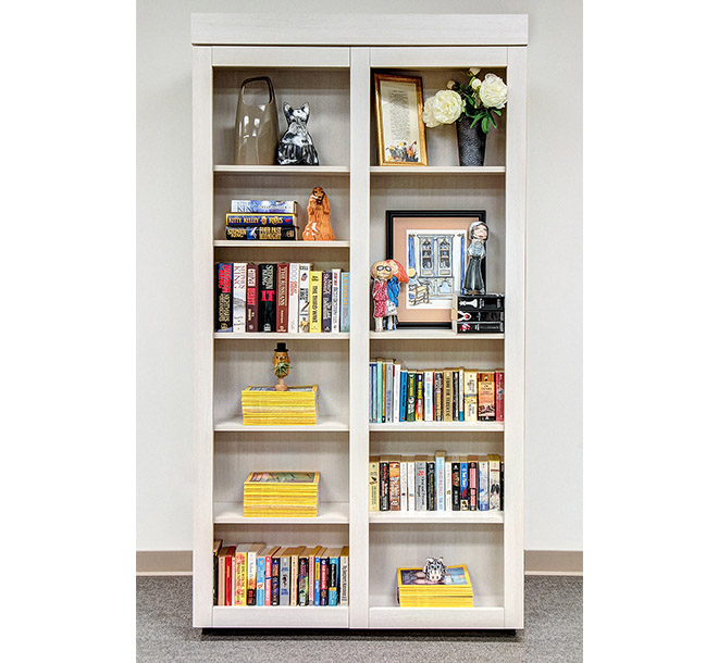 Closed bookcase storing books and collectibles on mutiple shelves