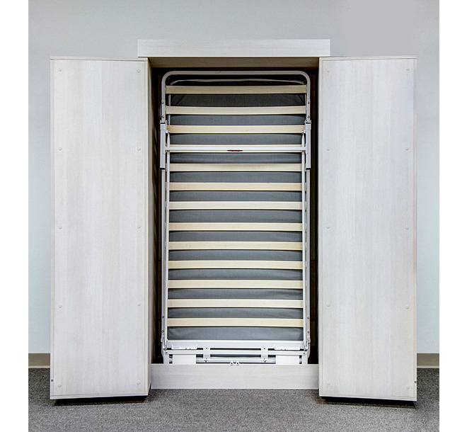 Twin sized Murphy bed frame stored vertically