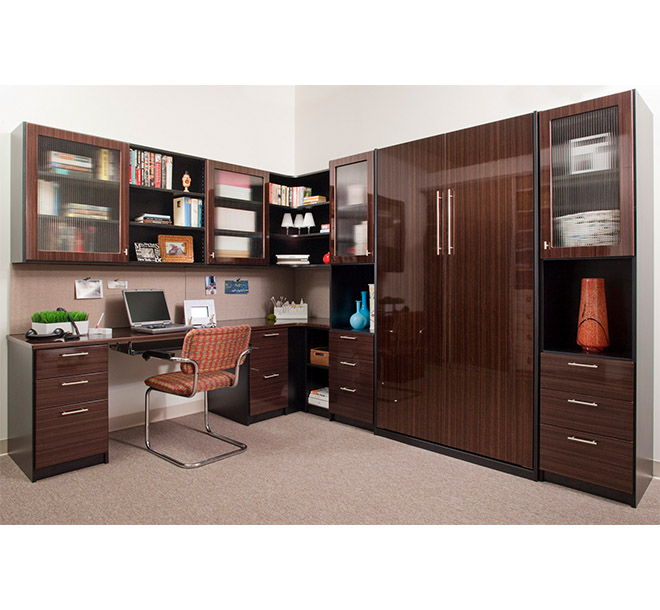 Home office with vertically stored Murphy bed concealed