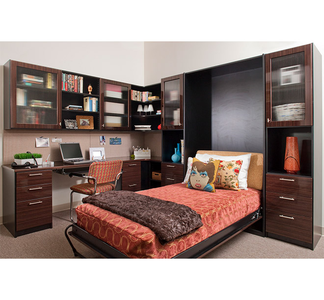 Home office with pull down Murphy bed open and neatly made