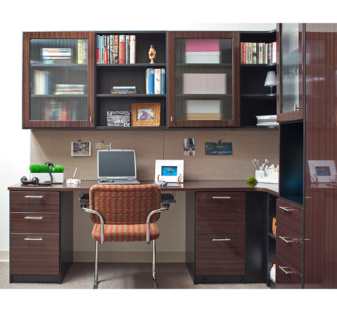 Home office with Murphy bed cabinet and desk