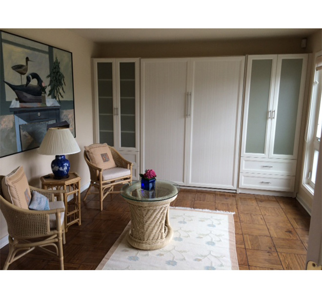 Small beach house living room with built in wall unit and Murphy bed