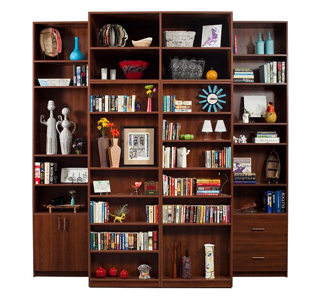 Customized bookshelves with keepsakes and knick-knacks neatly displayed