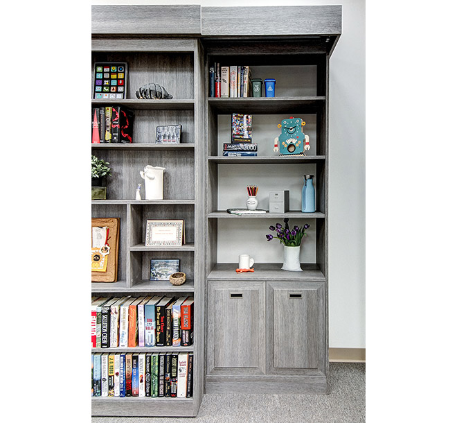 Murphy bed bookcase with shelves displaying collectables