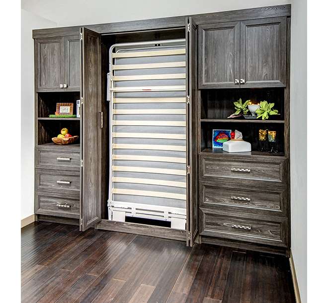 Bifold doors pulled open to show a twin sized Murphy Bed frame