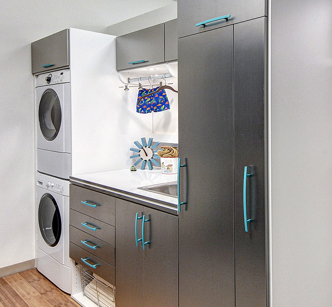 Closed custom cabinet unit in laundry room