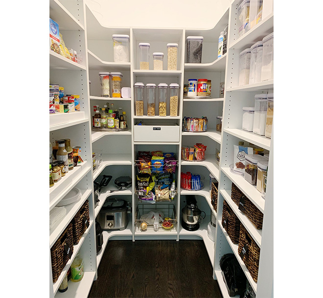 U shaped custom pantry design with L shaped corner shelving