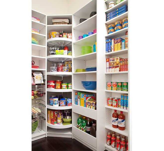 Snacks and drink organized on custom pantry shelving