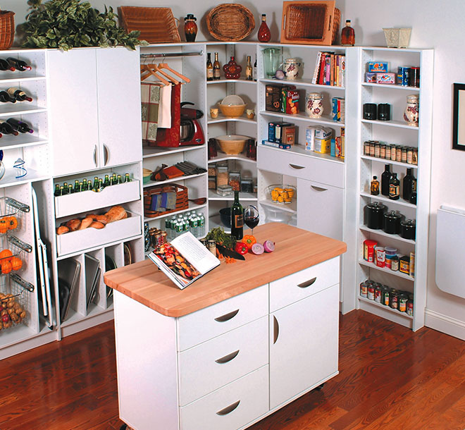Custom kitchen pantry design with center island butcher block