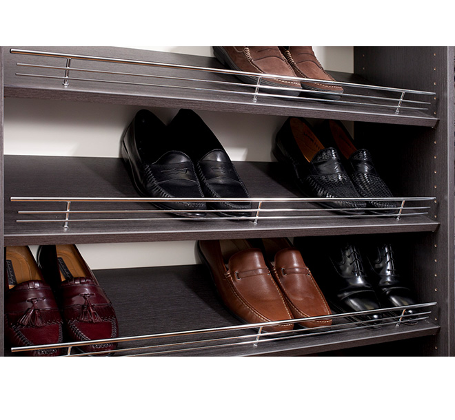 Shoe shelves and fence accessories organizing shoes