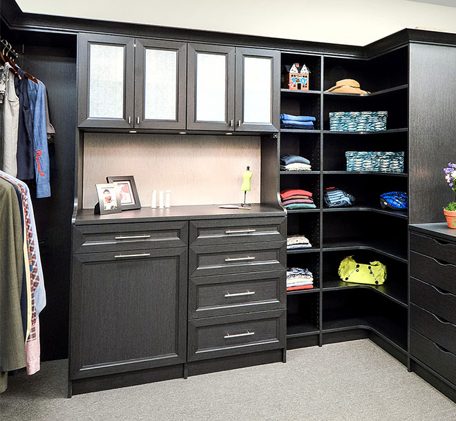 Custom closet in dark wood color
