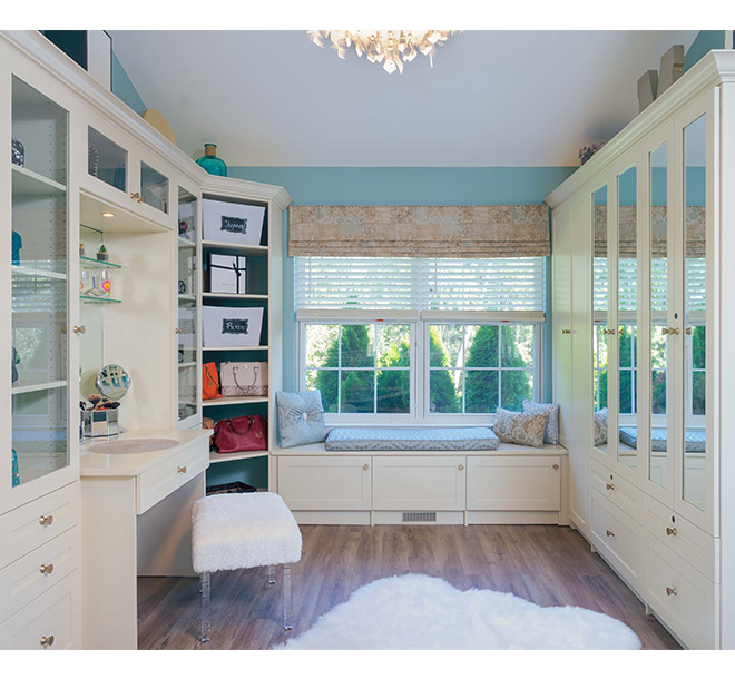 Walk in closet and sitting room with vanity