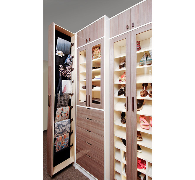 Full hieght velvet lined pull out drawer in walk-in closet