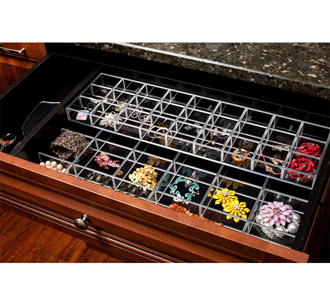 Closet drawer with velvet lined jewelry inserts