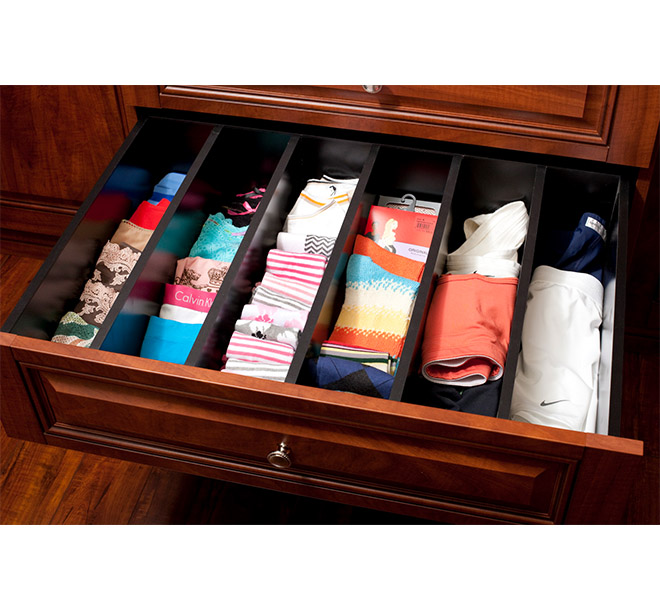 Closet drawer dividers filled with socks