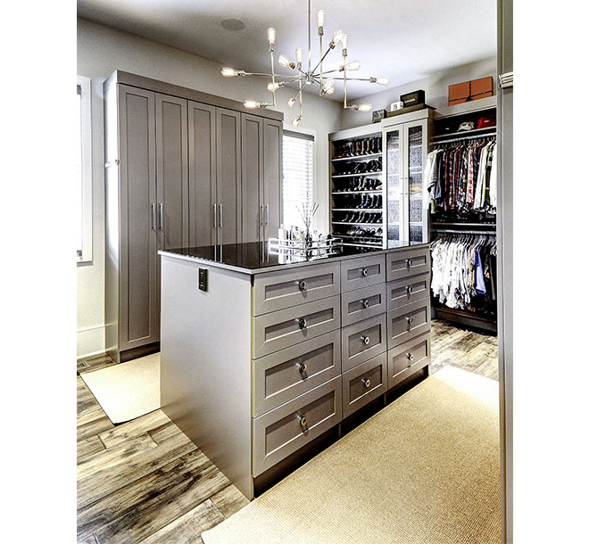 Walk-In closet with shaker doors and center island