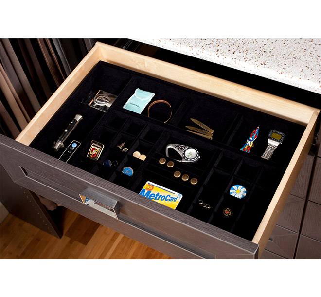 Open closet drawer with velvet jewellery drawer insert