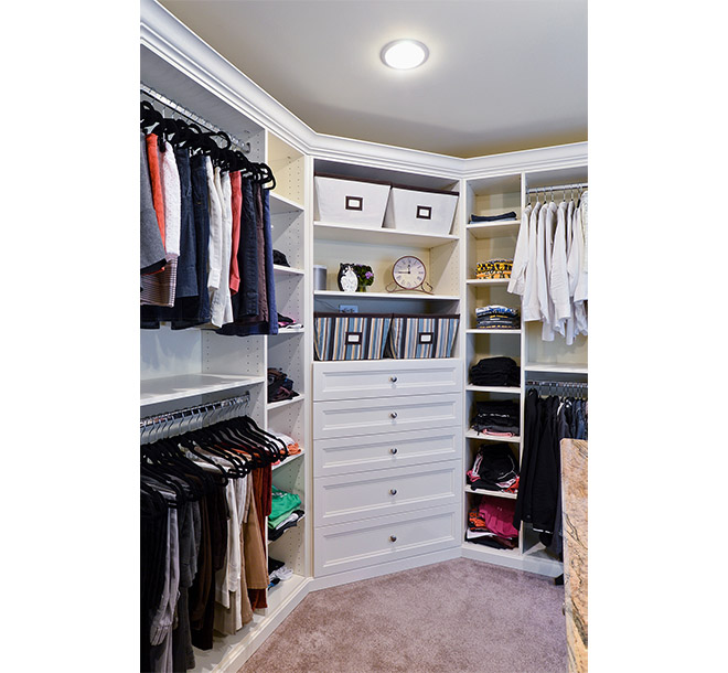 Walk-In closet with floor to ceiling hanging and storage