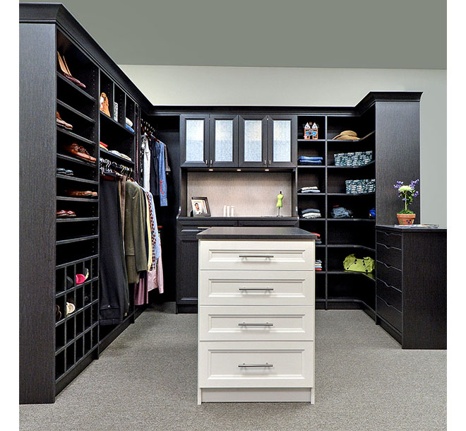 Walk-In closet with center island and contrasting drawer fronts