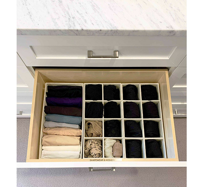 Walk-in closet drawer inserts keeping hosiery organized