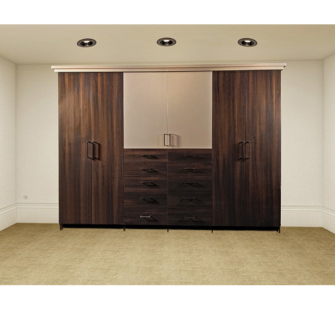 Custom wardrobe with different color door panels