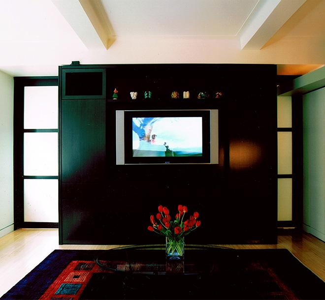 Dark wood zoom room bed unit closed in livingroom