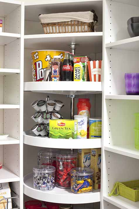 Items organized in Lazy susan in pantry