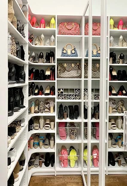 Organized closet with corner shoe storage