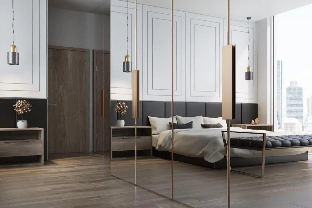 Mirrored doors on bedroom closets
