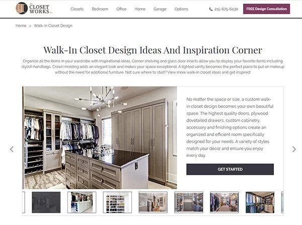 Closet Works Walk In Closet website page