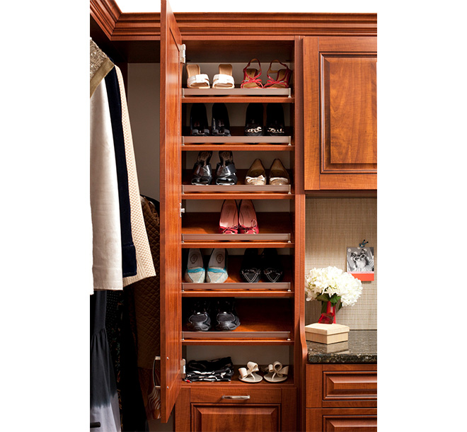 Closet cabinet with slanted shoe shleves and fences