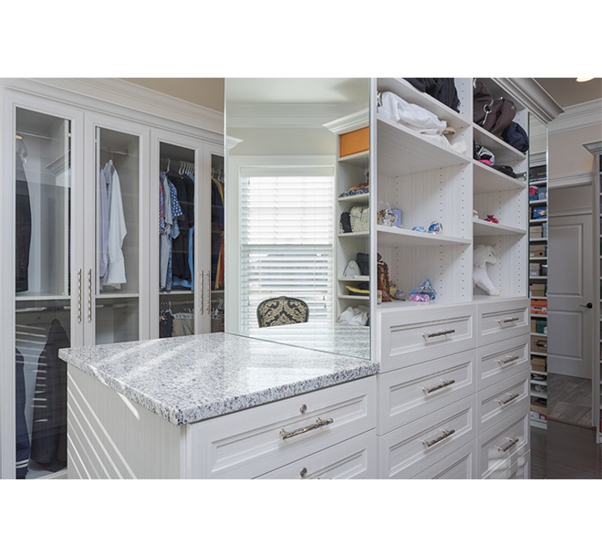 Closet island with drawers and mirrors