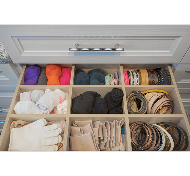 Drawer with birch inserts and accessories organized