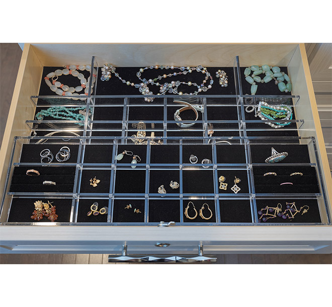Drawer with lucite jewelry inserts