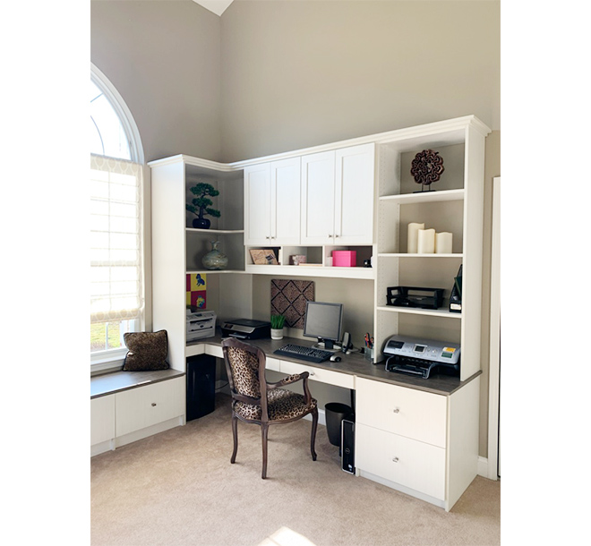 Custom home office interior design with corner shelving