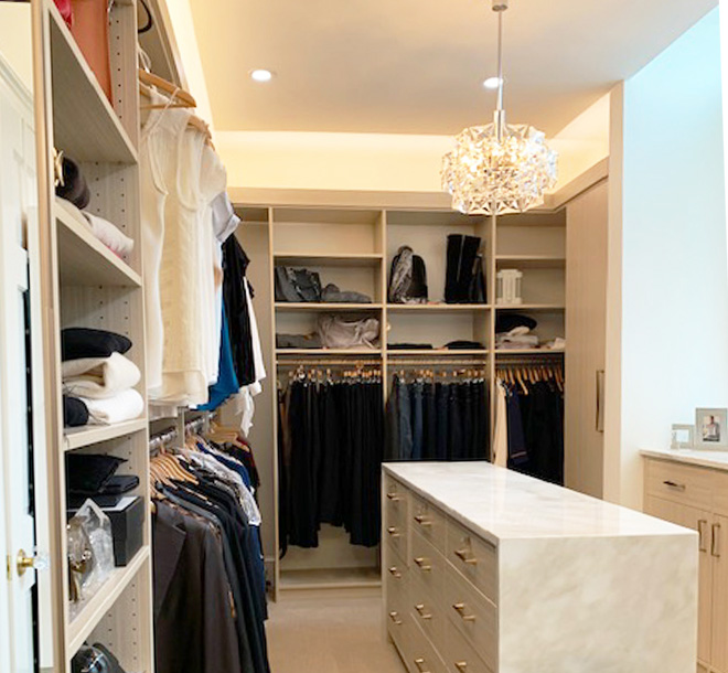 Bedroom walk-in closet organized