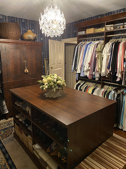 Historical home closet with center island storage