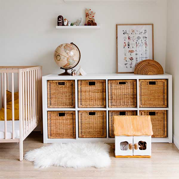 children's toys neatly organized with baskets