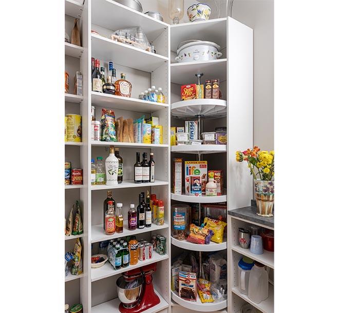Corner pantry organized with Lazy Susan